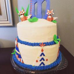 Tribal fox themed baby shower cake for an adorable little one