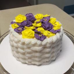 Purple and yellow basket weaved cake!