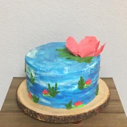 Watercolor inspired buttercream cake