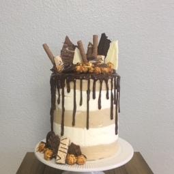 Fun chocolate and caramel drip cake!