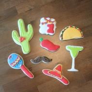 Cinco de Mayo themed cookies for a 1st birthday party