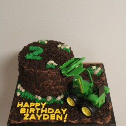 Tractor themed cake for a 2nd birthday