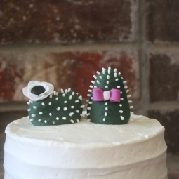 Custom fondant cactus bride and groom cake toppers