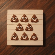 """Poop emoji cookies for a """"stinking"""" cute 2 year old :)"""