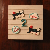 """Train themed cookies for a """"two two"""" themed 2nd birthday party!"""