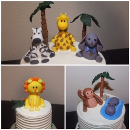 Custom fondant jungle animals and palm trees!