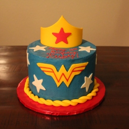 Wonder Woman themed cake for a 4th birthday party