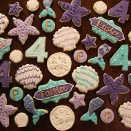 Mermaid themed cookies for a 4th birthday party!
