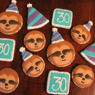 Sloth cookies for a 30th birthday!