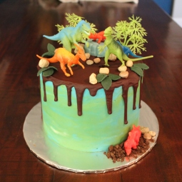 Chocolate drip dinosaur themed cake for a 2nd birthday!