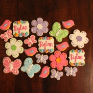 Fun and girly themed cookies for a newborn celebration!