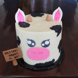 Holy Cow themed cake for my father-in-law's birthday! So fun!