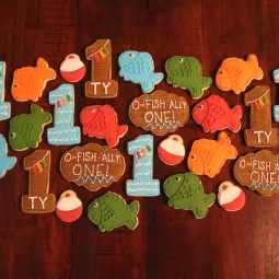 """O-Fish-Ally One"" themed cookies"