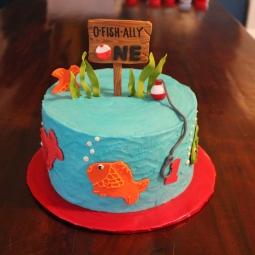 """O-Fish-Ally One"" themed birthday cake"